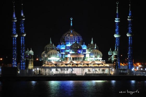 Cyristal Mosque in Kuala Terengganu  Malaysia  night