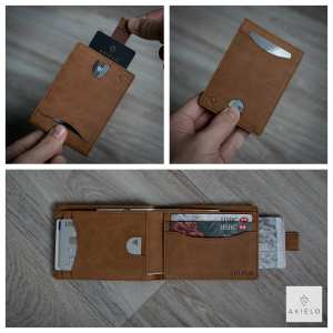 AKIELO Delta Wallet tan Bifold Mens Wallet Collection with pull tab or zip