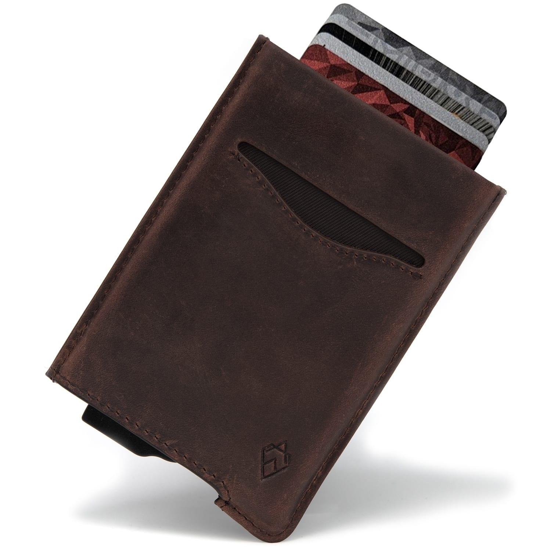 Brown RFID blocking credit card holder wallet pop up leather card holder like Andar Pilot Wallet