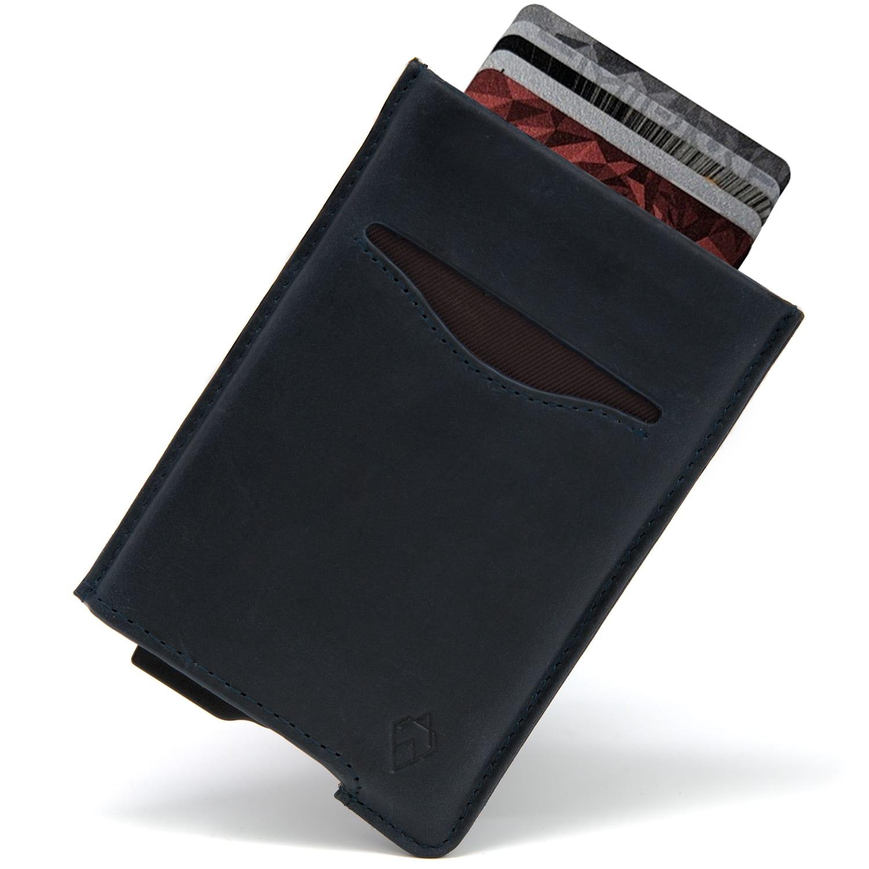 Navy Blue RFID blocking credit card holder wallet pop up leather card holder like Andar Pilot Wallet