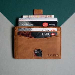 Tan RFID Blocking Credit Card Holder Compact Minimalist Card Wallet