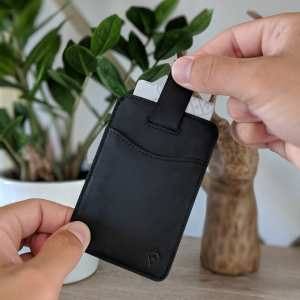 Black RFID blocking credit card holder wallet with Pull Tab