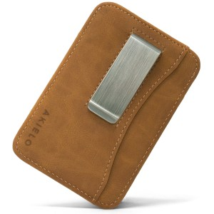 Tan RFID blocking credit card holder wallet with Money Clip