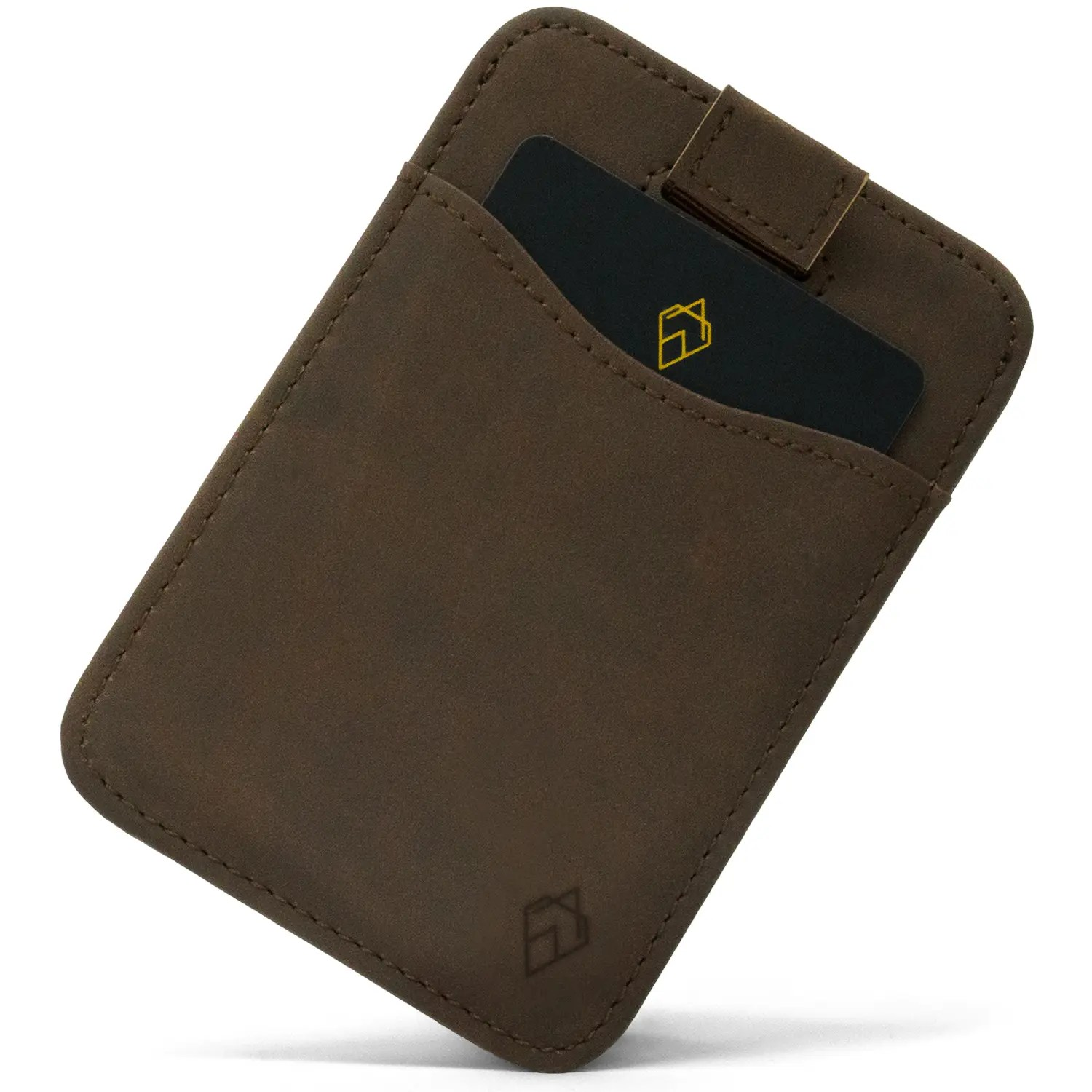 Brown RFID blocking credit card holder wallet with Pull Tab