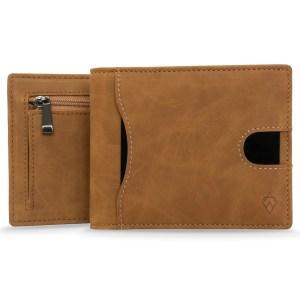 Tan Mens Zip Card Wallet Holder