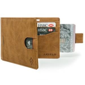 Tan mens wallet car holder with pull tab and RFID blocking wallet