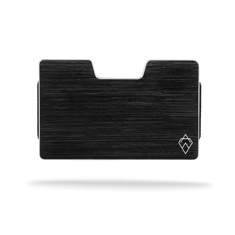 brushed black RFID blocking credit card holder wallet with money clip