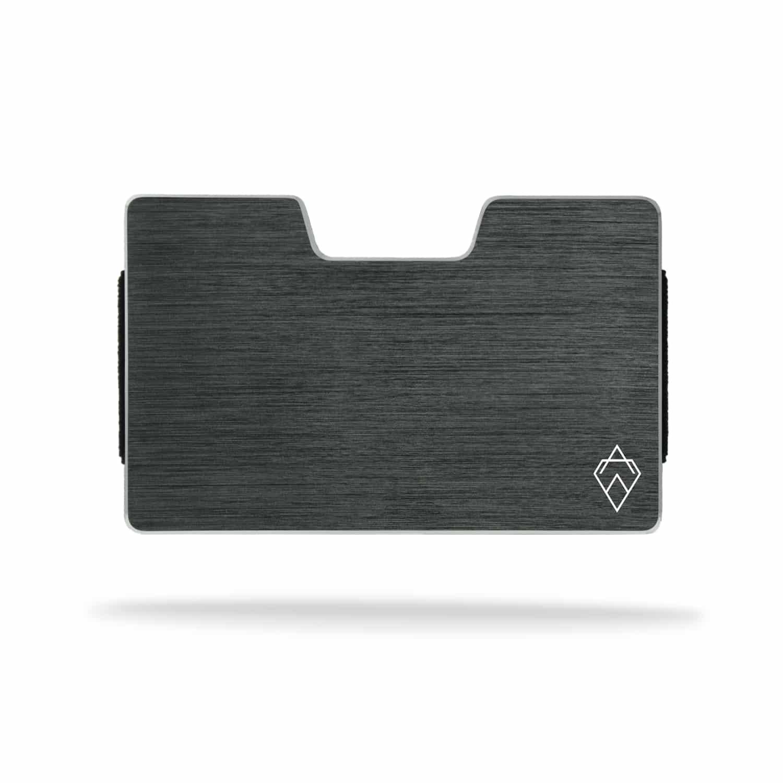 brushed grey titanium RFID blocking credit card holder wallet with money clip