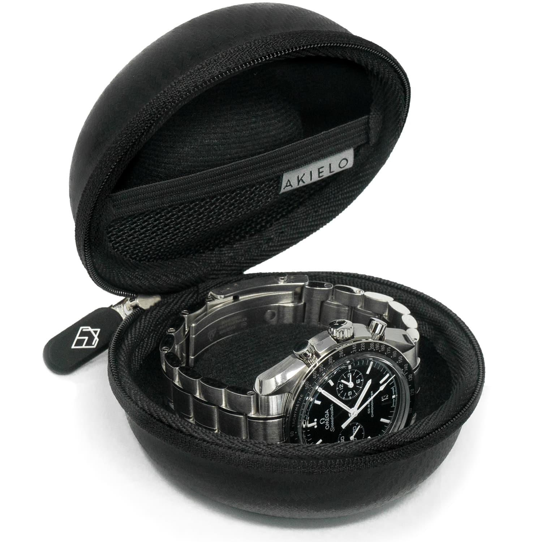 black travel watch case box with polishing cloth