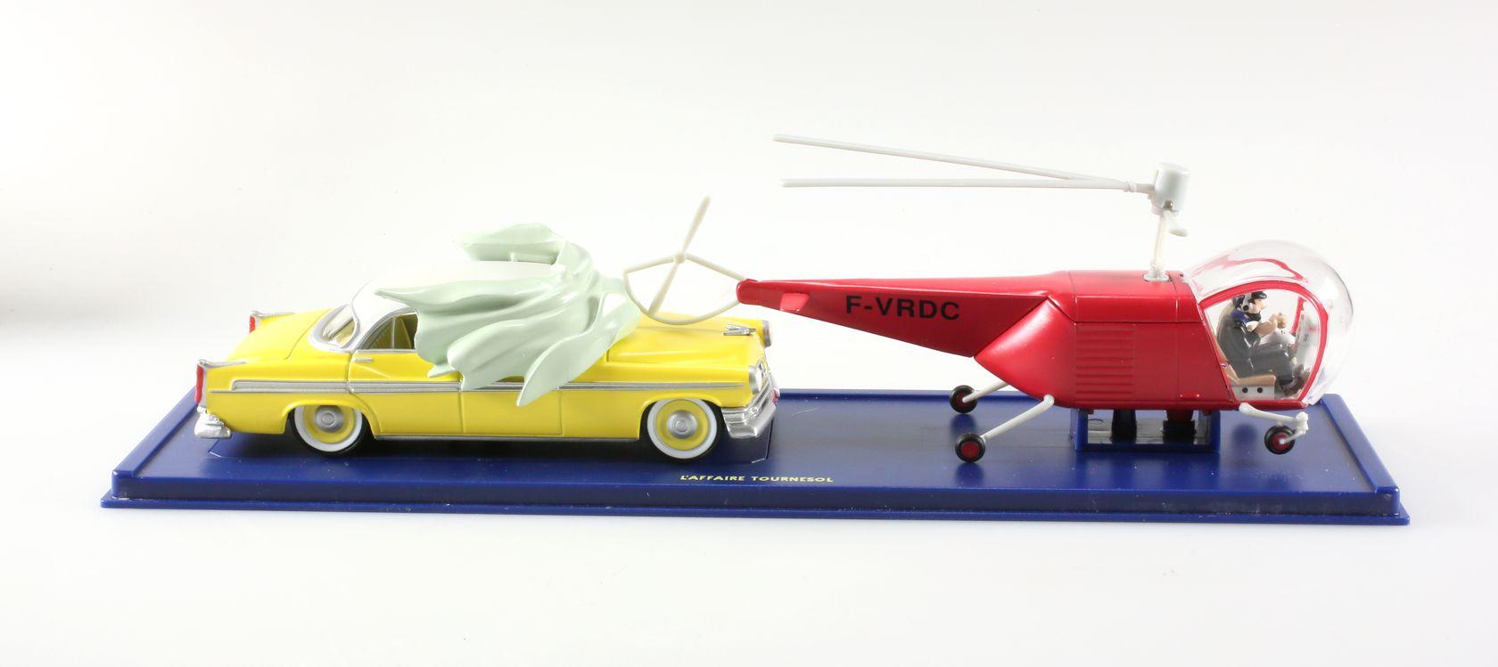L'hélicoptère Bell Model 47 rouge (1947) et la Chrysler New Yorker Deluxe jaune (1955), L'affaire Tournesol, 1/43