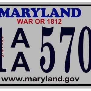 Plaque d'immatriculation américaine Maryland (War or 1812)