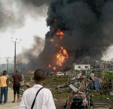 BREAKING NEWS: Pipeline Explosion Rocks Abule Ado, Many Houses Collapse (See Video)