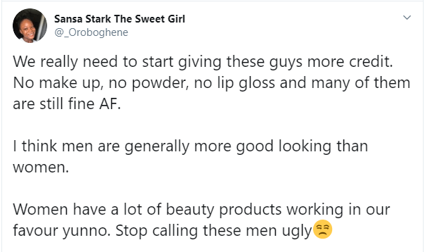 Nigerian Lady Explains Why Men Are Generally Good Looking Than Women