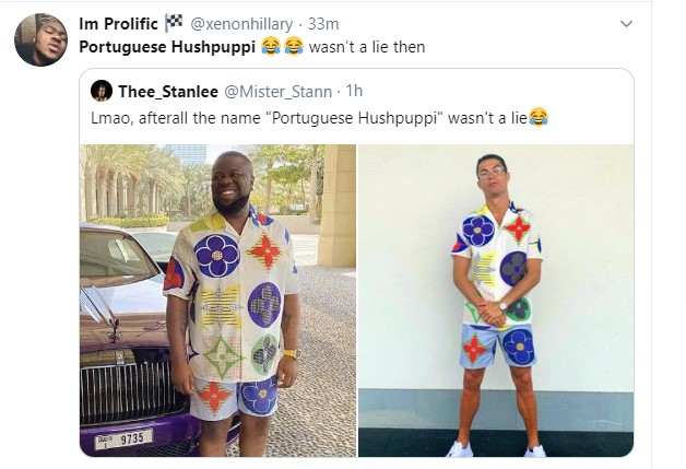 Reactions As Viral Photo of Ronaldo Rocking Hushpuppi's Dress Spotted Online