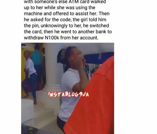 Watch Video: Lady In Tears After losing N100,000 To Fake Samaritan In Bank