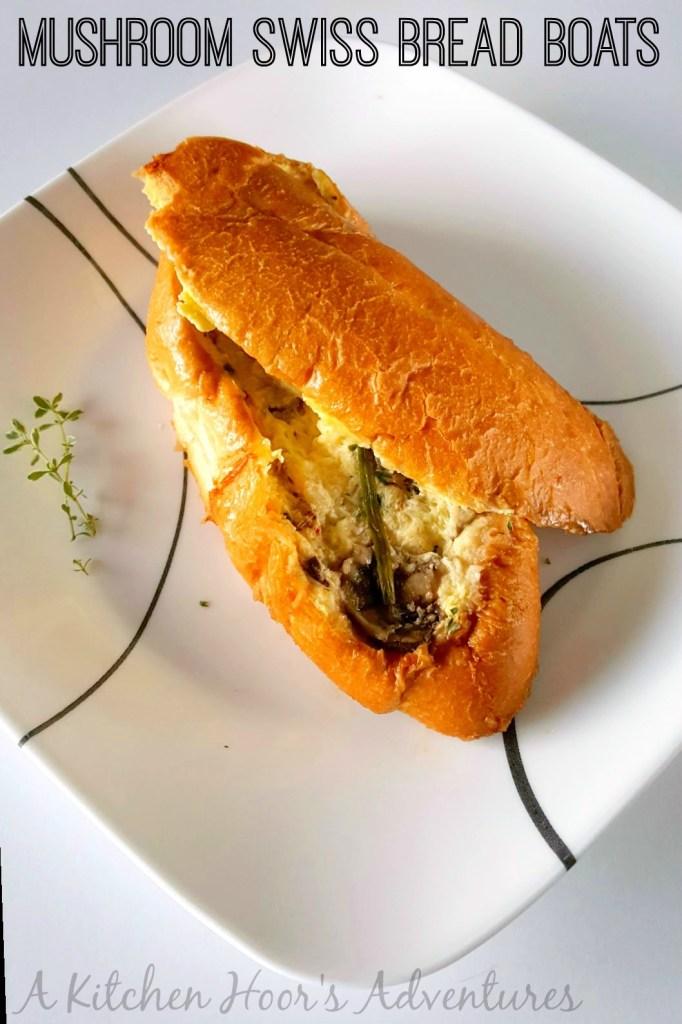 Mushroom Swiss Bread Boats with Egg