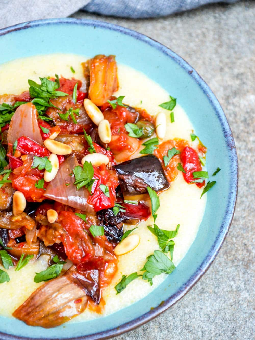 Polenta with roasted caponata - recipe / A kitchen in Istanbul
