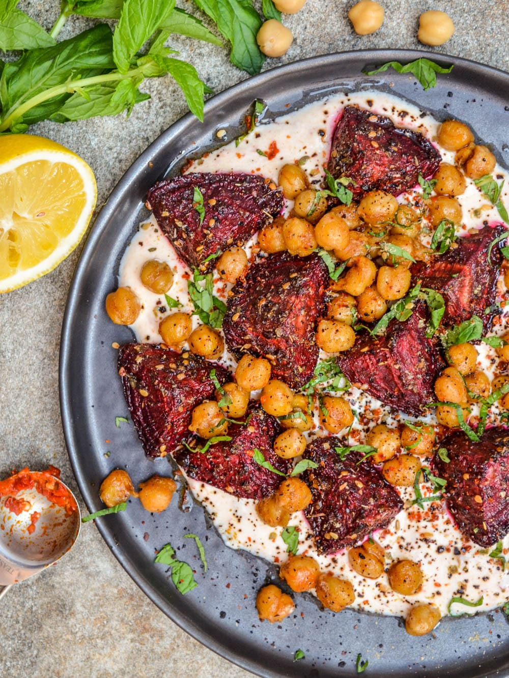 Spiced beetroot & chickpeas with harissa yoghurt / A kitchen in Istanbul
