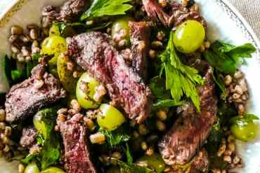 Moro's seared sirloin salad with barley, grapes and sumac - recipe / A kitchen in Istanbul