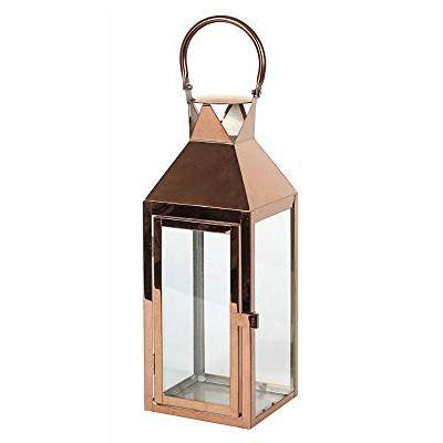 Large 40cm Copper Lantern Decorative Indoor Outdoor Hanging Candle Holder