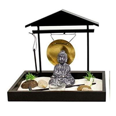 26cm Buddha Zen Garden with Gong (Black)