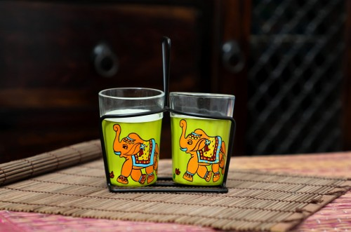 Buy Hand Painted Multi Color Tea Glass 90 ML Chai Cups