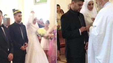 "Photo of في لبنان .. مسلمة تتزوج شاباً مسيحياً و هي ترتدي "" الحجاب "" داخل الكنيسة !"