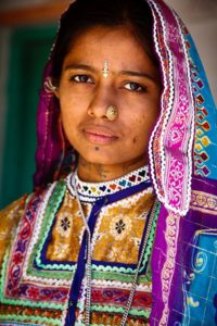 Portrait of Harijan Girl, Khavda Village, Kutch, Gujarat, India