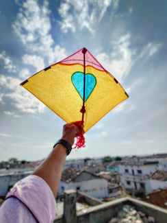 person holding a kite