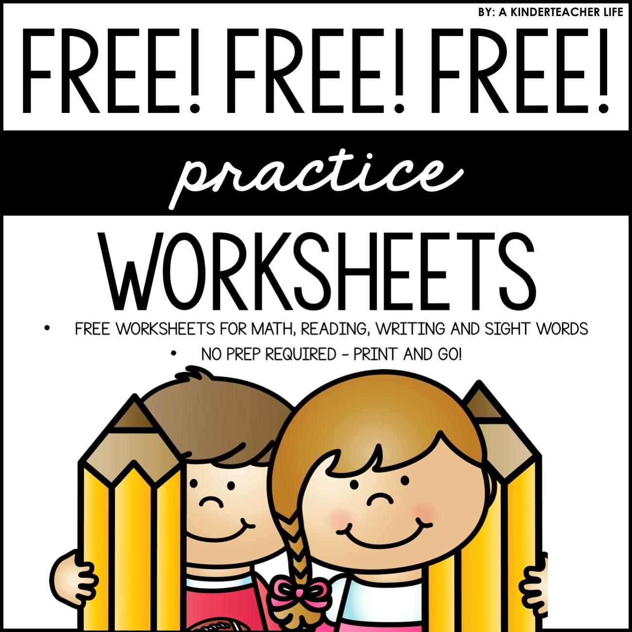 Free Practice No Prep Worksheets Kindergarten