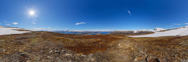 360°-Panorama in Norwegen - auf dem Storsteinen oberhalb von Tromsø