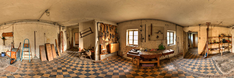 360°-Panorama in Lorch - früher die Küche, heute eine Werkstatt in der ehemaligen Gaststätte Harmonie