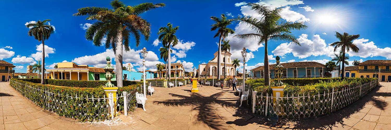 360°-Panorama auf dem Plaza Mayor in Trinidad auf Kuba
