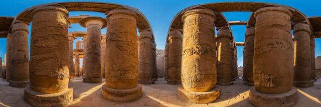 360°-Panorama in der Großen Säulenhalle des Karnak-Tempels in Luxor (Ägypten) - Bild 3