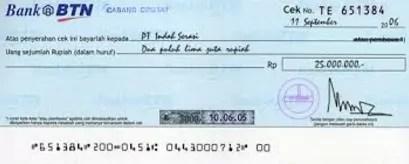 contoh jasa layanan bank cek