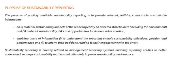 Purpose of Sustainability Reporting, EFRAG ESS