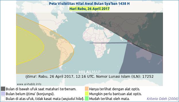 Pada hari Rabu, 26 April 2017 bulan sabit awal Sya'ban 1438 H akan sulit dilihat dengan mata di hampir seluruh belahan dunia. Hanya wilayah lautan Pasifik di sebelah barat Benua Amerika yang mungin melihat bulan sabit ini dengan bantuan alat optis.