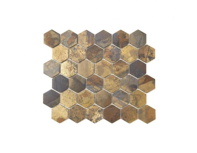 oxidised gold hexagon mosaic tile