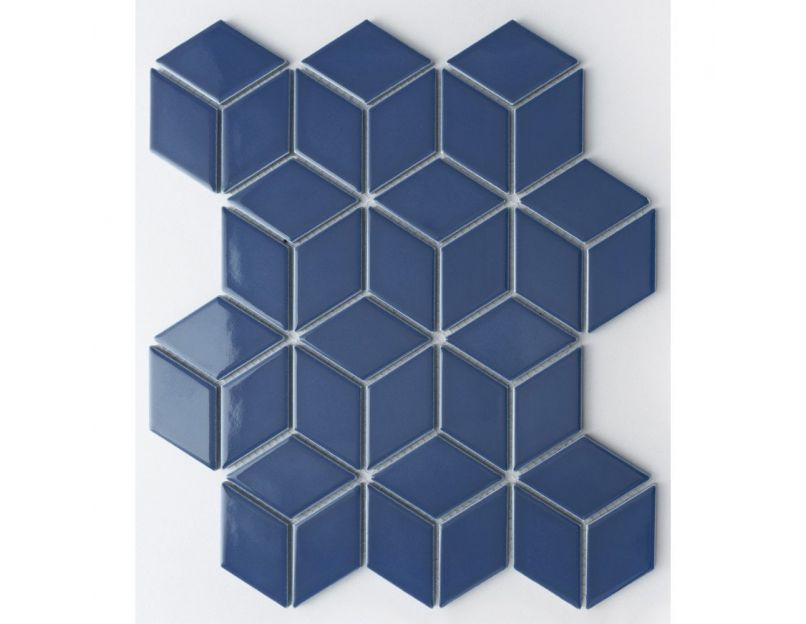 diamond 3d dark blue mosaic tile
