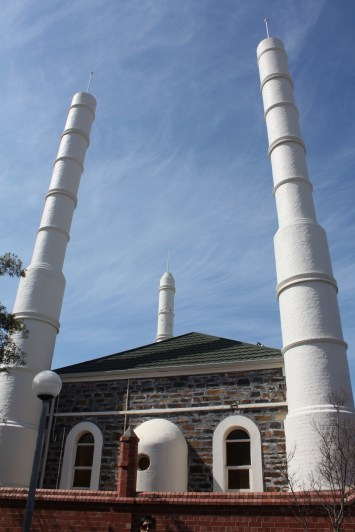 3 of 4 minarets from outside the mosque.