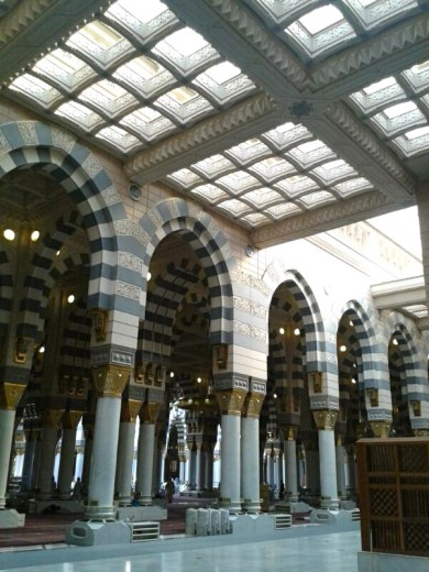 Inside Masjid Al-Nabawi (The Prophet's Mosque) in Madinah.