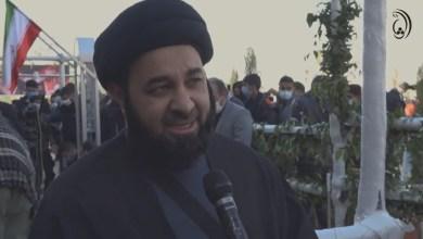 """من أمام روضة سليماني.. السيد مرتضى السندي: الإمام الخامنئي حدد التكليف """"طرد القوات الأميركية من المنطقة"""""""