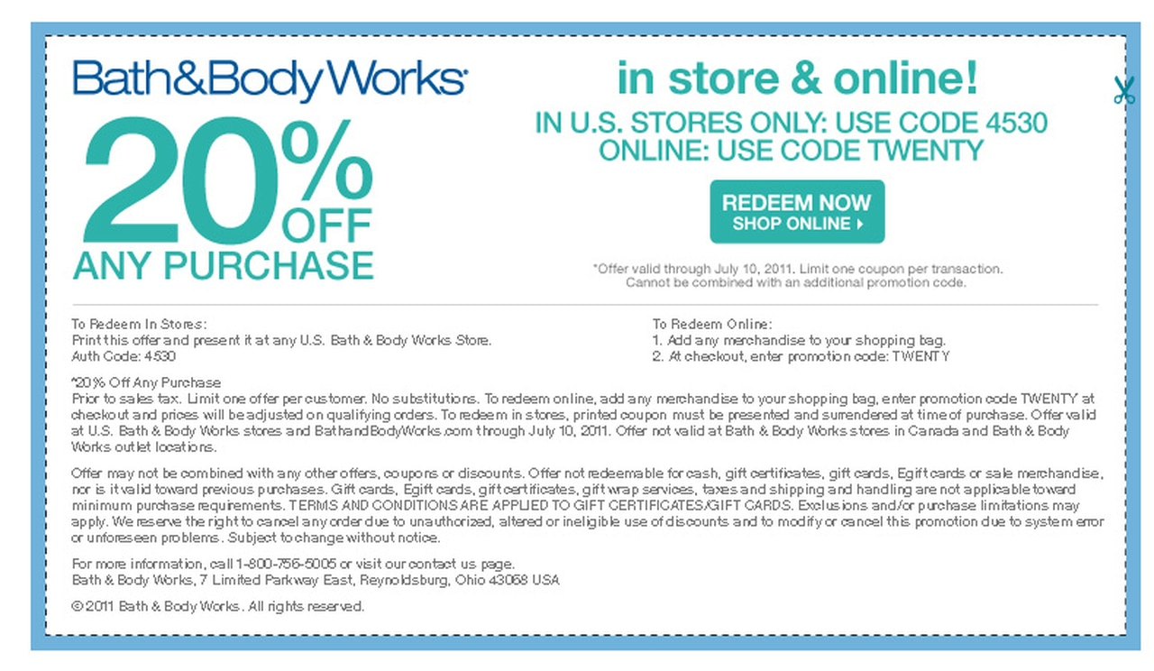 Bath Body Works 20 Off Any Purchase Printable Coupon