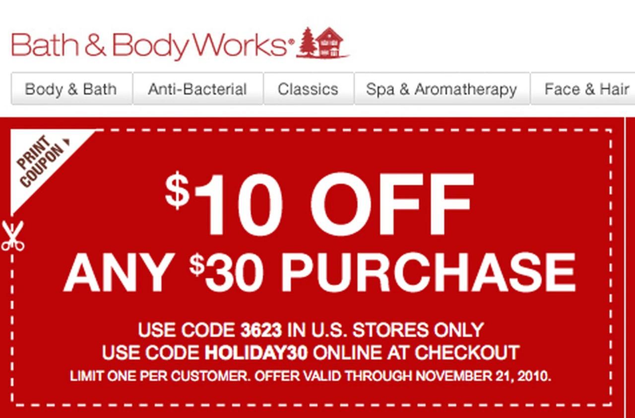 Bath Body Works Printable 10 Off 30 Coupon Al Com