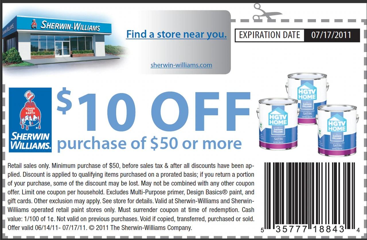 Sherwin Williams 10 Off 50 Purchase Printable Coupon Al Com