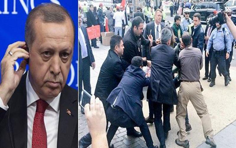 حرس اردوغان يتعارك مع متظاهرين أتراك بواشنطن