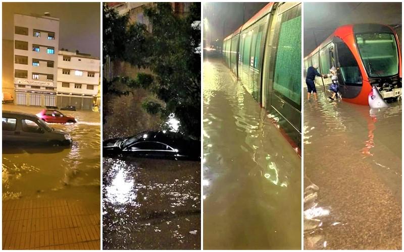 أمطار الخير تغرق الدار البيضاء وتحولها إلى مدينة عائمة في دقائق (فيديو)