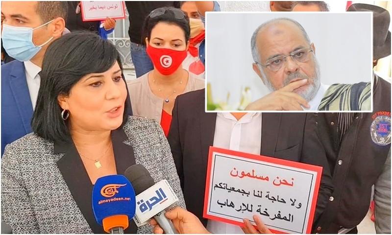 عبير موسي تعتصم بمقر اتحاد 'الريسوني' بتونس: منظمة إرهابية.. ارحلوا عنا