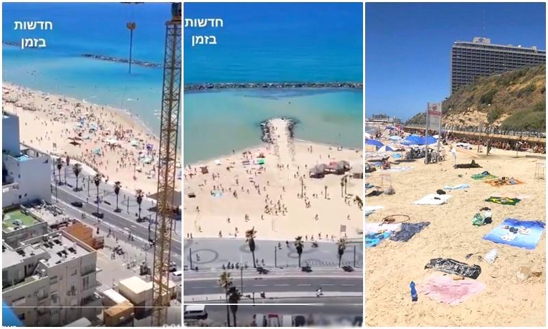 (فيديو) فرار جماعي لإسرائيليين من شاطئ تل أبيب بعد صفارات إنذار صواريخ المقاومة