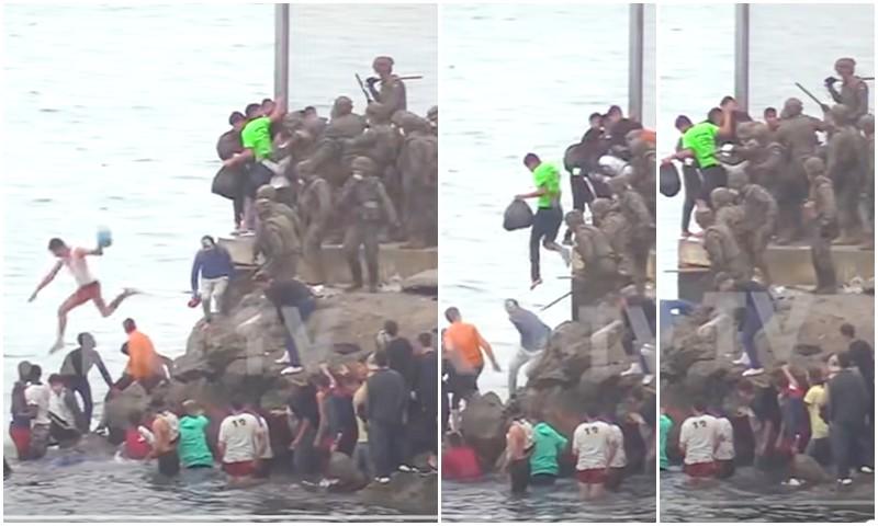 (فيديو) صحيفة دولية تفضح إسبانيا: فيديو إلقاء الجيش الإسباني لمغاربة بالهراوات في البحر حقيقي